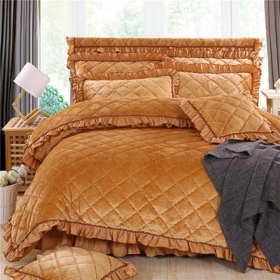 2020新款法莱绒夹棉被套床裙四件套 1.8m(床裙款四件套) 驼色