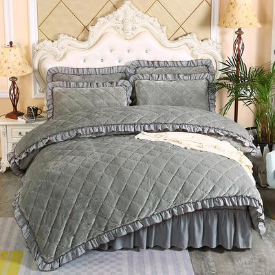 2020新款法莱绒夹棉被套床裙四件套 1.8m(床裙款四件套) 银灰