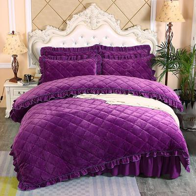 2019新款法莱绒夹棉被套床裙四件套 1.5m(床裙款四件套) 紫罗兰