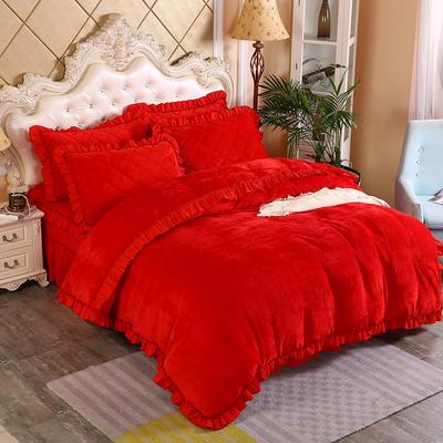2019新款法莱绒普通被套床裙四件套 1.5m(床裙款四件套) 大红