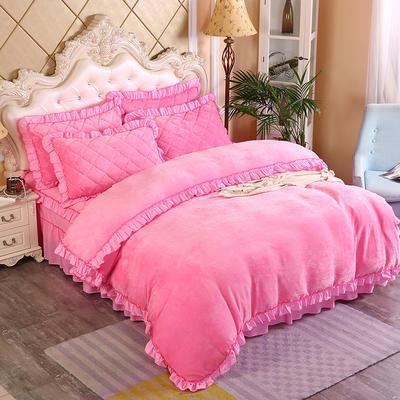 2019新款法莱绒普通被套床裙四件套 1.5m(床裙款四件套) 粉红
