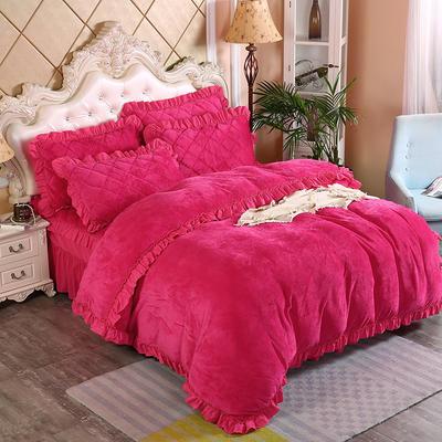 2019新款法莱绒普通被套床裙四件套 1.5m(床裙款四件套) 玫红
