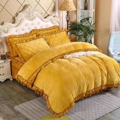 2019新款法莱绒普通被套床裙四件套 1.5m(床裙款四件套) 柠檬黄