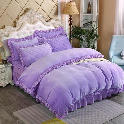 2019新款法莱绒普通被套床裙四件套 1.5m(床裙款四件套) 浅紫