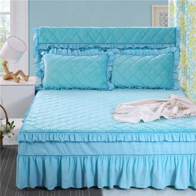 2020新款法莱绒夹棉单床裙 150*200+45cm 湖蓝