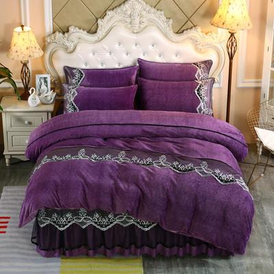 2019新款牛奶绒床裙款四件套 48*74cm枕套/对 葡萄紫