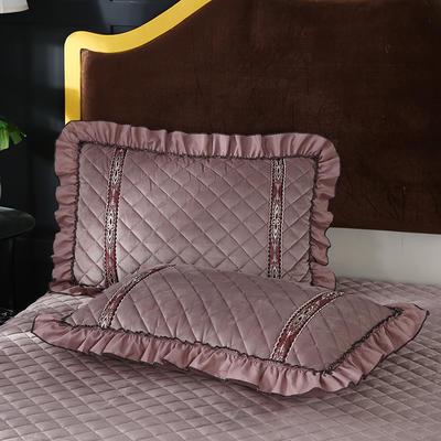2019新款水晶绒枕头枕套(48cmX74cm/对) 48cmX74cm/对 卡其