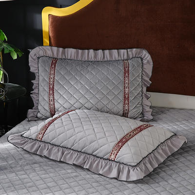 2019新款水晶绒枕头枕套(48cmX74cm/对) 48cmX74cm/对 银灰
