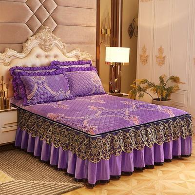 2019新款印花水晶绒夹棉蕾丝脱卸床裙四件套系列—单品床裙 150*200cm+45cm 光影流年-紫