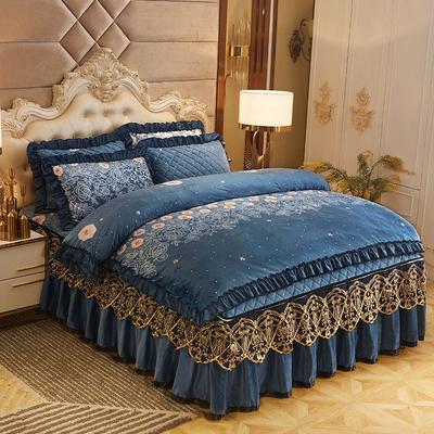 2019新款印花水晶绒夹棉蕾丝脱卸床裙四件套系列—四件套 1.5m床裙款 巴黎花园-蓝