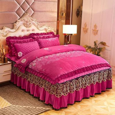 2019新款印花水晶绒夹棉蕾丝脱卸床裙四件套系列—四件套 1.5m床裙款 巴黎花园-玫红