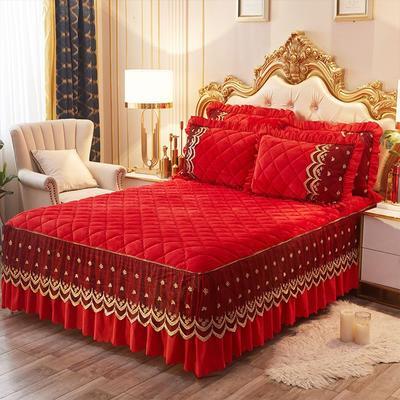 2020新款夹棉蕾丝法莱绒床裙四件套贵族风范系列—单品夹棉床裙 150*200+45cm 贵族风范-大红