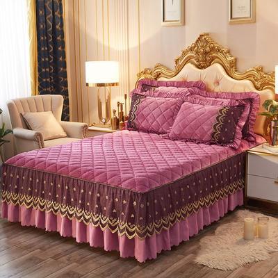 2020新款夹棉蕾丝法莱绒床裙四件套贵族风范系列—单品夹棉床裙 150*200+45cm 贵族风范-豆沙