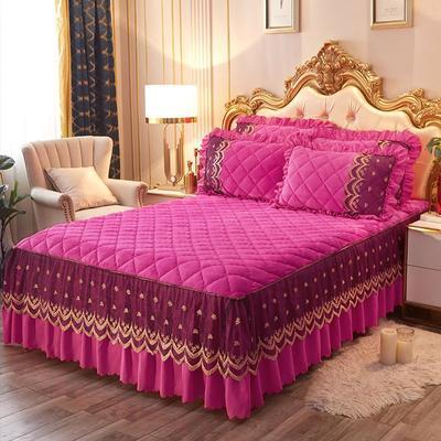 2020新款夹棉蕾丝法莱绒床裙四件套贵族风范系列—单品夹棉床裙 150*200+45cm 贵族风范-玫红
