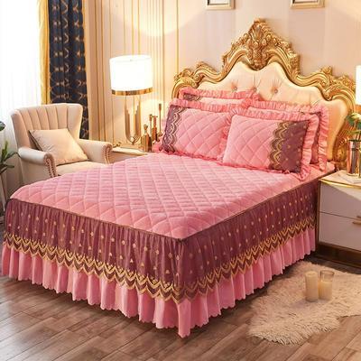 2020新款夹棉蕾丝法莱绒床裙四件套贵族风范系列—单品夹棉床裙 150*200+45cm 贵族风范-玉色