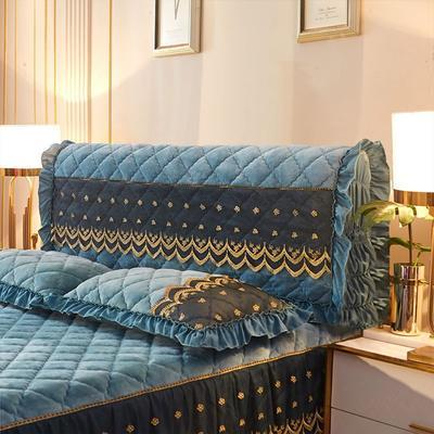 2020新款夹棉蕾丝法莱绒床裙四件套贵族风范系列—全包床头罩 150cm*60cm 贵族风范-橄榄绿