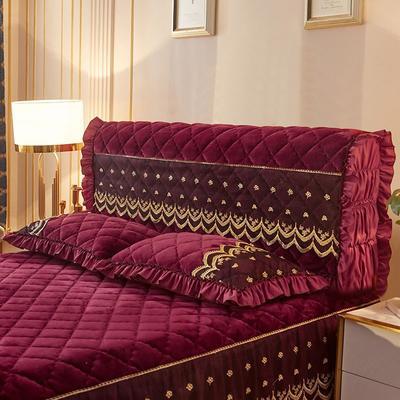 2020新款夹棉蕾丝法莱绒床裙四件套贵族风范系列—全包床头罩 150cm*60cm 贵族风范-酒红