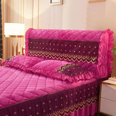 2020新款夹棉蕾丝法莱绒床裙四件套贵族风范系列—全包床头罩 150cm*60cm 贵族风范-玫红