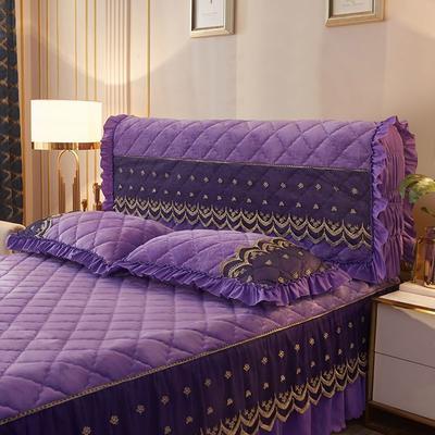 2020新款夹棉蕾丝法莱绒床裙四件套贵族风范系列—全包床头罩 150cm*60cm 贵族风范-雪青