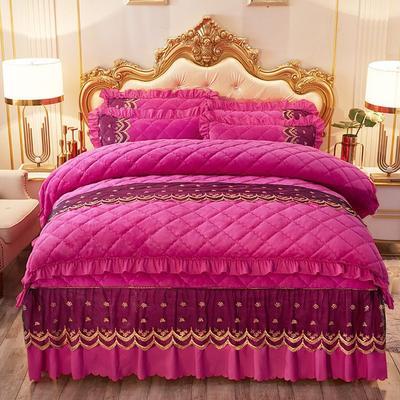 2020新款夹棉蕾丝法莱绒床裙四件套贵族风范系列—单品夹棉被套 200X230cm 贵族风范-玫红