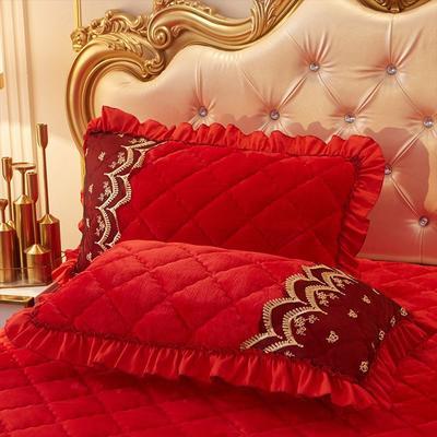 2019新款夹棉蕾丝法莱绒床裙四件套贵族风范系列—单品枕套(48*74cm/对) 48cmX74cm/对 贵族风范-大红