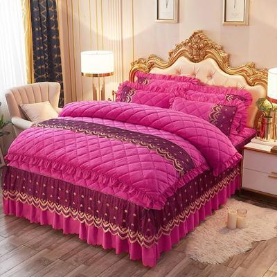 2019新款夹棉蕾丝法莱绒床裙四件套贵族风范系列—床裙四件套 1.5m床裙款 贵族风范-玫红