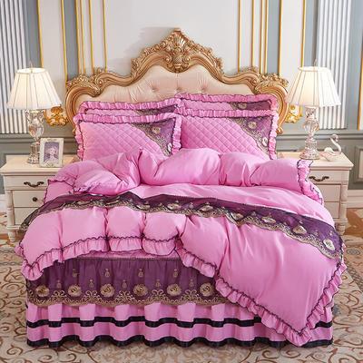2020新款(四季款)细丝斜纹夹棉床裙系列—床裙五件套 1.8m床裙款五件套 粉色