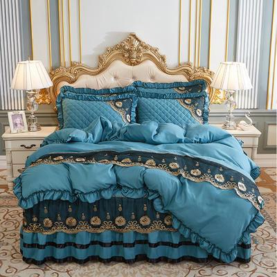 2020新款(四季款)细丝斜纹夹棉床裙系列—床裙五件套 1.8m床裙款五件套 橄榄绿