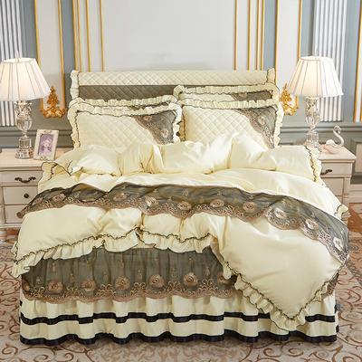 2020新款(四季款)细丝斜纹夹棉床裙系列—床裙五件套 1.8m床裙款五件套 米黄