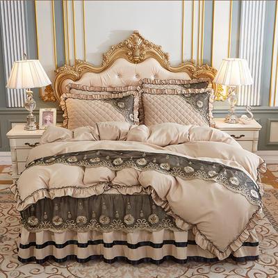 2020新款(四季款)细丝斜纹夹棉床裙系列—床裙五件套 1.8m床裙款五件套 浅驼
