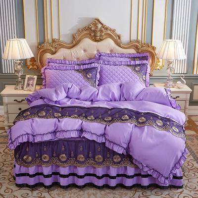 2020新款(四季款)细丝斜纹夹棉床裙系列—床裙五件套 1.8m床裙款五件套 浅紫