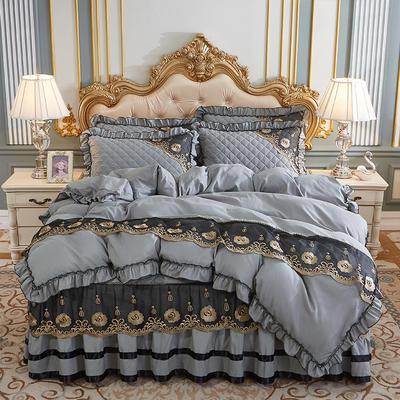 2020新款(四季款)细丝斜纹夹棉床裙系列—床裙五件套 1.8m床裙款五件套 银灰