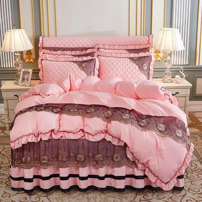 2020新款(四季款)细丝斜纹夹棉床裙系列—床裙五件套 1.8m床裙款五件套 玉色