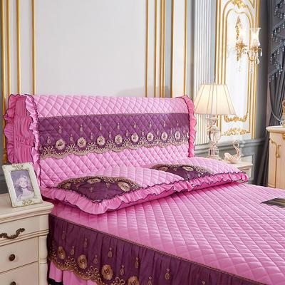 202新款(四季款)细丝斜纹夹棉床裙系列—单品全包床头罩 180x60cm 粉色