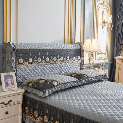202新款(四季款)细丝斜纹夹棉床裙系列—单品全包床头罩 180x60cm 银灰