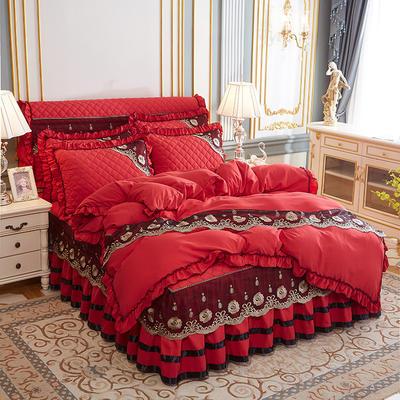 2020新款(四季款)细丝斜纹夹棉床裙系列—单品被套 200X230cm 大红