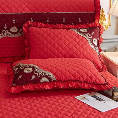 2021新款(四季款)细丝斜纹夹棉床裙系列—单品枕套 48cmX74cm 大红