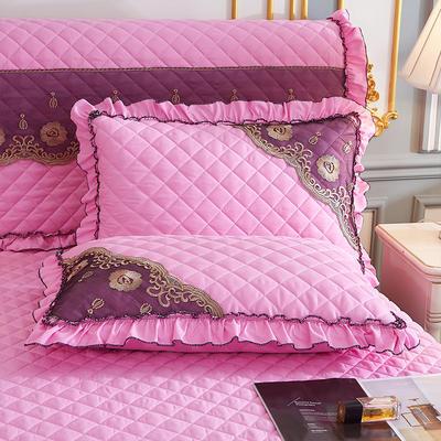 2021新款(四季款)细丝斜纹夹棉床裙系列—单品枕套 48cmX74cm 粉色