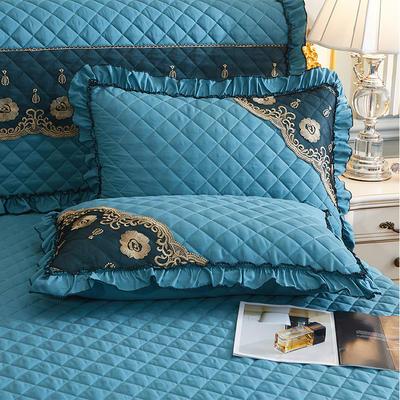 2021新款(四季款)细丝斜纹夹棉床裙系列—单品枕套 48cmX74cm 橄榄绿
