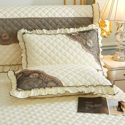 2021新款(四季款)细丝斜纹夹棉床裙系列—单品枕套 48cmX74cm 米黄