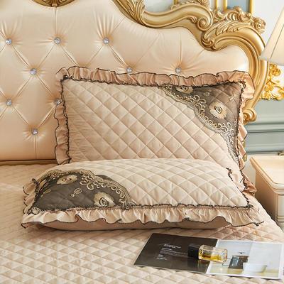 2021新款(四季款)细丝斜纹夹棉床裙系列—单品枕套 48cmX74cm 浅驼