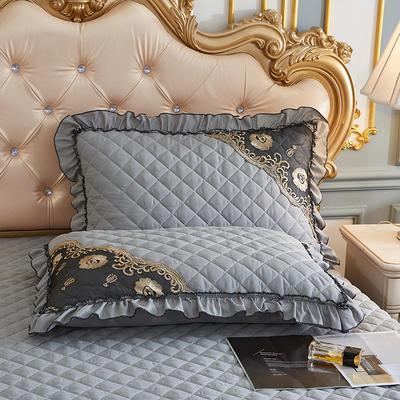 2021新款(四季款)细丝斜纹夹棉床裙系列—单品枕套 48cmX74cm 银灰