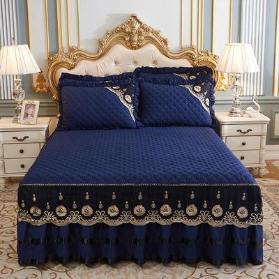 2020新款(四季款)細絲斜紋夾棉床裙系列—床裙三件套 1.5m床裙款三件套 寶藍