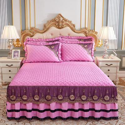 2020新款(四季款)细丝斜纹夹棉床裙系列—床裙三件套 1.5m床裙款三件套 粉色