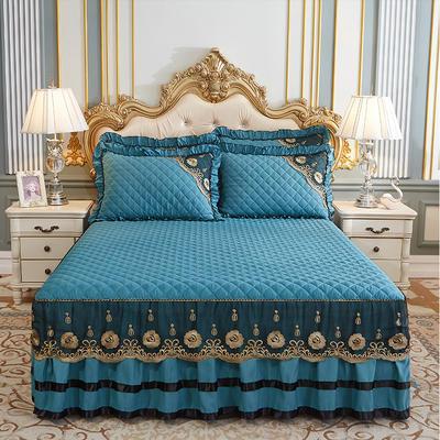 2020新款(四季款)細絲斜紋夾棉床裙系列—床裙三件套 1.5m床裙款三件套 橄欖綠