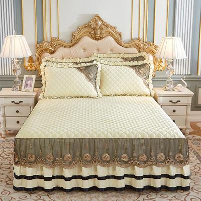 2020新款(四季款)细丝斜纹夹棉床裙系列—床裙三件套 1.5m床裙款三件套 米黄