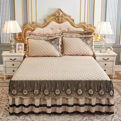 2020新款(四季款)細絲斜紋夾棉床裙系列—床裙三件套 1.5m床裙款三件套 淺駝