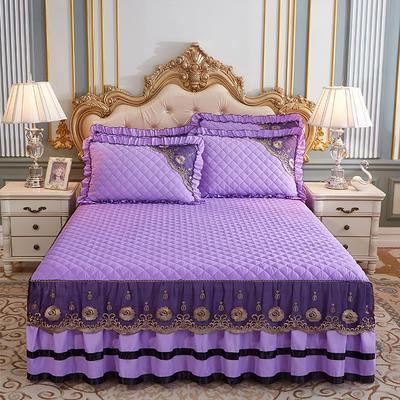 2020新款(四季款)細絲斜紋夾棉床裙系列—床裙三件套 1.5m床裙款三件套 淺紫