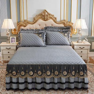 2020新款(四季款)細絲斜紋夾棉床裙系列—床裙三件套 1.5m床裙款三件套 銀灰
