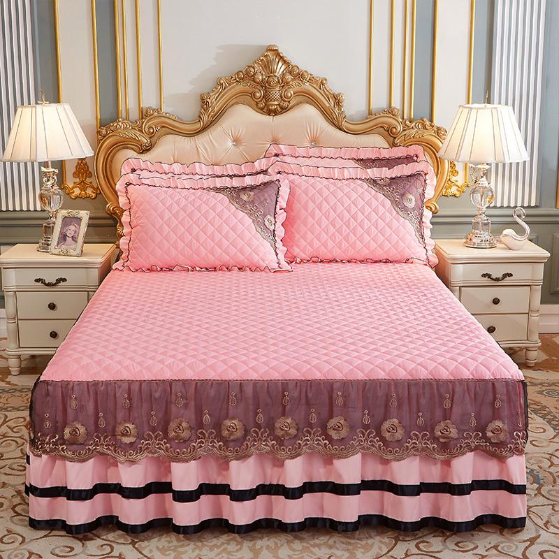2020新款(四季款)细丝斜纹夹棉床裙系列—床裙三件套